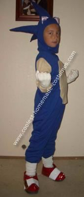 Homemade Sonic the Hedgehog Costume: I made this homemade Sonic the Hedgehog costume for my son, whose favorite video character was Sonic the Hedgehog. I used a purchased costume pattern with