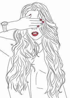 art, black and white, drawing, girl Outline Drawings, Cute Drawings, Drawing Sketches, Drawing Art, Tumblr Girl Drawing, Tumblr Drawings, Tumblr Outline, Image Clipart, Girl Sketch