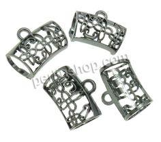 Zinklegierung Stiftöse Perlen, metallschwarz plattiert, frei von Nickel, Blei & Kadmium, 32x24x18mm, Bohrung:ca. 4mm, 50Stücke/Pack, verkauf...