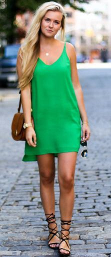 Green Cami Dress Fall Inspo by Fanny Staaf