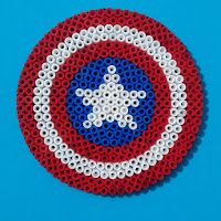 Hama (perler, melty) beads Captain America shield