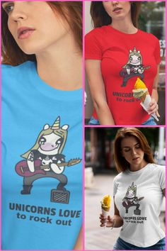 Our New Unicorn Rock tee's have just arrived at Kawaii Shop HQ but we can't choose Blue, White or Red? Rock Tees, Rock T Shirts, Kawaii Shop, Attitude, Unicorn, Tights, Cotton, Red, How To Make