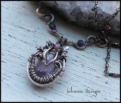Wire Wrapped Amethyst Pendant Necklace with Pink Tourmaline in Solid Bronze
