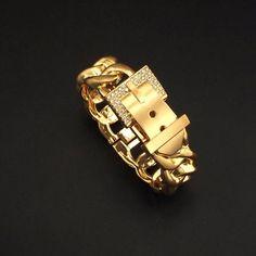 Fashion Belt Design Bracelet Rhinestones Metal Charm Cuff Bangles Statement Jewelry