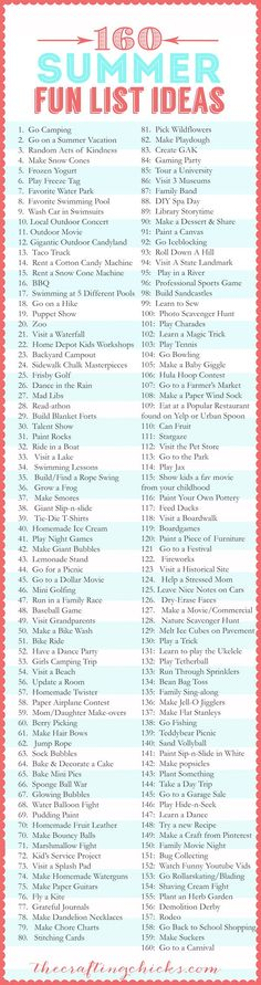 160 Summer Fun List IDEAS!! from thecraftingchicks.com #craftingchicks #summerfunlist #summerfun