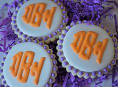 Sweet Goosie Girl's Clemson inspired monogrammed cookies