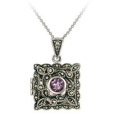 Another great find on #zulily! Amethyst & Marcasite Filigree Square Locket Necklace #zulilyfinds