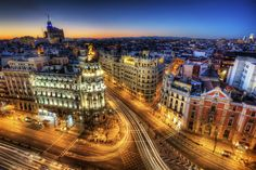 Gran Via at dusk, Madrid, Spain.