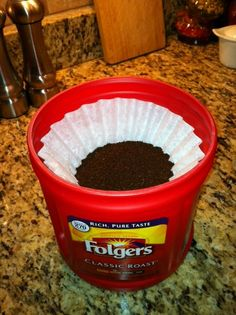My clever husband thought of this.  Refill your empty coffee container with coffee filters containing your premeasured coffee.  Stack em up and just grab one each time you make your coffee!!