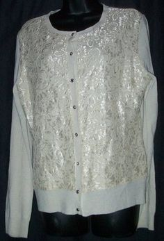$28.99   NWT New York & Company Khaki Lace Front Light Weight Sweater Cardigan L NEW