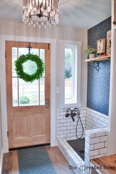 DIY Mudroom with Dog Bath. DIY mudroom with dog bath! Step by step instructions on The Created Home. Join me as I share the details of our large mudroom build, including a cutom dog bath! Mudroom Laundry Room, Laundry Room Design, Home Renovation, Home Remodeling, Bathroom Renovations, Küchen Design, Interior Design, Dog Rooms, Up House