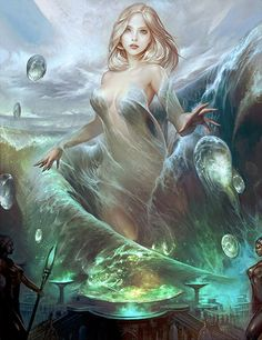 In Greek mythology, the Nereids (/ˈnɪəriɪdz/ NEER-ee-idz; Greek: Νηρηΐδες, sg. Νηρηΐς) are sea nymphs (female spirits of sea waters), the fifty daughters of Nereus and Doris, sisters to Nerites. They were distinct from the Sirens. They often accompany Poseidon, the god of the sea, and can be friendly and helpful to sailors fighting perilous storms.