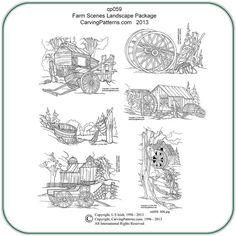 Pyrography Site with Free Patterns | wood burning patterns free | Farm Scene Pattern Package by Lora S ...