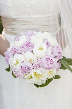 Tiffany's lush bouquet featured pink and white peonies. |   Photo by David Abel Photography, Floral Design by GM Littleton LLC