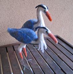 Mr. Great Blue Heron, needle felted bird. $184.00, via Etsy.