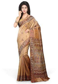 Buy Beige Pure Baluchari Silk Handloom Saree with Blouse online, work: Hand Woven, color: Beige, usage: Wedding, category: Sarees, fabric: Silk, price: $257.78, item code: SQGA52, gender: women, brand: Utsav
