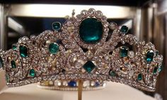 The Angouleme Emerald Tiara worn by Marie Antoinette and made by Evrard and Frederic Bapst for the French crown jewels in 1820. There are 1031 diamonds and 40 emeralds in the setting.