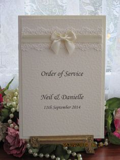C0074 Pure innocence Ivory Lace Satin Order of Service, Vintage Lace Wedding Cards
