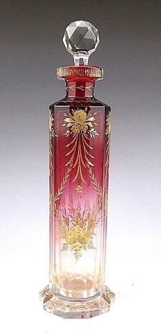 Antique Bohemian Moser Cranberry Art Glass Scent Perfume Bottle (Cologne) | eBay by cristina