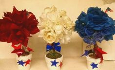 3-Piece-Handmade-Red-White-Blue-4th-of-July-Silk-Rose-Topiary-Floral-Decor