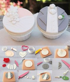 ideas cupcakes decoration wedding fondant for 2019 Fondant Cupcake Toppers, Cupcake Cookies, Wedding Cupcakes Fondant, Fondant Tutorial, Fondant Tips, Cupcake Tutorial, Cake Business, Wedding Cookies, Wedding Cup Cakes