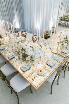 Mirrored tablescape with dusty blue decor Wedding Reception Decorations, Wedding Themes, Wedding Designs, Wedding Colors, Wedding Ideas, Elegant Wedding, Dream Wedding, Gold Wedding, Blue Table Settings