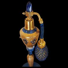Mint 1920's Czech Blue & Gold Jeweled Perfume Bottle ~CZECHOSLOVAKIA : Fifi's Antique Perfume Bottles & Rare Compacts   Ruby Lane