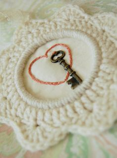 Such a deeply romantic stitched project <3 #heart #key #stitchery #sewing #love #Valentines #crafts #knitting