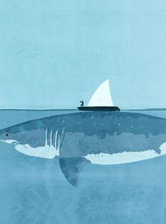 illustration by Shout [Alessandro Gottardo] Megalodon, Sea World, Visualisation, Great White Shark, Illustrations Posters, Illustrators, Concept Art, Illustration Art, Creatures