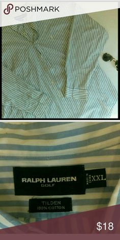{Mens} Ralph Lauren golf striped dress shirt In perfect condition. Great to pair with slacks. From a smoke and pet free home. I ship fast! Ralph Lauren Black Label Shirts Dress Shirts