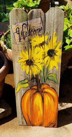 Pumpkin sunflowers Welcome wooden Fall art on reclaimed wood fence Rustic Artist Bill Miller of Miller's Art/ Fall/Front Porch decor - Fall crafts, Fall Wood Crafts, Wooden Crafts, Wooden Pumpkin Crafts, Thanksgiving Wood Crafts, Wooden Pumpkins, Halloween Wood Crafts, Decor Crafts, Art Decor, Diy Crafts