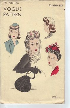 how to make Hats From The 1940S | Vintage 1940's Women's Hat and Purse Sewing Pattern, Vogue 9650, Size ...