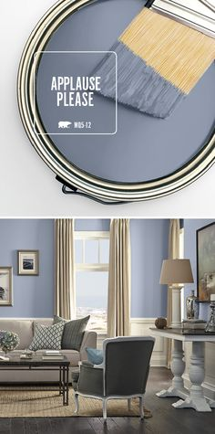 There's something about a paint shade with unique undertones that adds so much to a space. Applause Please is the perfect cool grayish blue to add a sophisticated spin to your living room or master be (Cool Bedrooms Master)