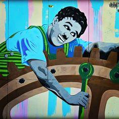 MODERN TIMES (Charles Chaplin 1936) by artist @fabieke  in Castel Maggiore #Italy  streetartcinema.com  #streetartcinema  #street #art #streetart #streetartist #streetartproject #spray #aerosol #urban #urbanart #arteurbano #arteurbana #arturbain #Fabieke #italystreetart  #Cinema #Culture #Education #ModernTimes #Chaplin #Comedy #Film #Tramp by streetartcinema