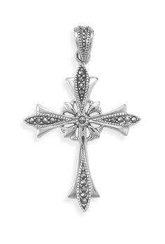 Sterling silver and marcasite ornate cross pendant. The cross measures 30mm x 48mm. Metal Material: .925 Sterling Silver