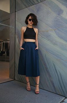 Blue Culottes 2017 Street Style