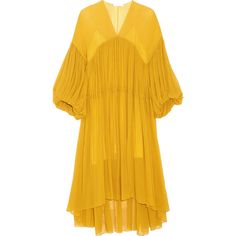 Chloé Tiered silk-mousseline midi dress (75,880 MXN) ❤ liked on Polyvore featuring dresses, yellow dress, bell sleeve dress, mid calf dresses, yellow cocktail dress and slip dress