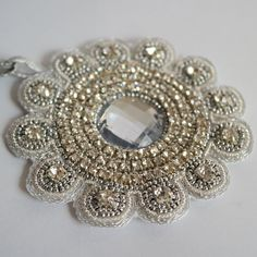 Bridal pandent/ Silver beaded pendant/ Handmade by DeraTrustShop, $35.00