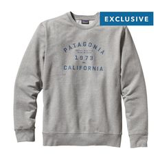 Sweat it out collegiate style in this new Patagonia Men's Arched Collegiate Logo Midweight Crew Sweatshirt, built to take the rigors of everyday activities.  #FairTrade #FathersDay #apparel
