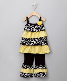 Take a look at this Black & Yellow Rumba Ruffle Top & Ruffle Pants - Toddler & Girls by Heart 2 Heart Couture on #zulily today!