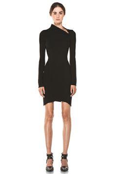 HELMUT LANG  Flare Long Sleeve Dress in Black