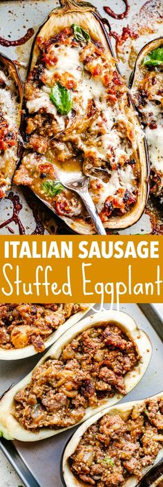 Sausage Stuffed Eggplant Boats filled with spicy sausage and topped with cheese. This baked eggplant recipe is a satisfying & healthy dinner you'll love! Pork Recipes, Vegetable Recipes, Vegetarian Recipes, Cooking Recipes, Healthy Recipes, Paleo Eggplant Recipes, Recipes With Sausage Healthy, Aubergine Recipe Healthy, Vegetables