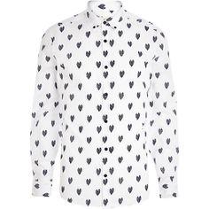 White heart print long sleeve shirt #riverisland #rimenswear