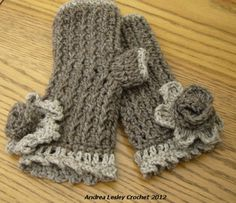 Crochet Fingerless Mittens in Light Brown and Beige with Flower (Ready to Ship). £10.00, via Etsy.