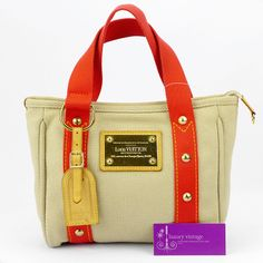 #LV Cabas Pm Light Brown/Red Canvas With Leather Good Conditions ref.code-(KCTT-1)