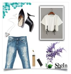 """Shein - Double Lace T-shirt"" by aria-star ❤ liked on Polyvore featuring Sans Souci, Wolf & Moon, StreetStyle, fashionset and shein"