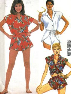 Vintage McCalls 9584 Shirt and Darling Wrap Shorts Sewing Pattern Size Small