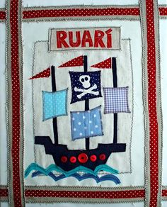 "Pirate Ship Textile Art for Boy.  Custom Name Canvas. Nursery Wall Art, New Baby Keepsake, Christening, Baptism Gift Idea. 16""x20"""