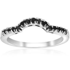 PRODUCT DETAILS  Item #WR3200Black.4Width:1.8 mmMetal: 14k White GoldDiamond Cut: Round, BrilliantDiamond Color: BlackDiamond Clarity: Diamond Carat: 0.25Diamond Quantity: 15      1/4CT Black Diamond Notched Wedding Ring Curved Band Guard Enhancer White Gold  This womens ring features 15 round cut genuine black color enhanced diamonds. All diamonds are set in solid 10k white gold. .25ct total diamond weight.