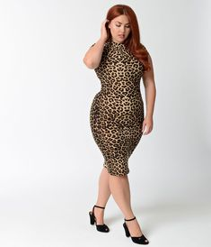 8c59de4b1ad648 Unique Vintage Plus Size 1960s Leopard Stretch Knit Cap Sleeve Holly Wiggle  Dress